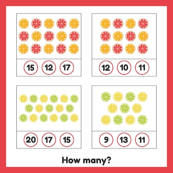 How many fruits. lemon, orange, grapefruit, lime. worksheet for kids.