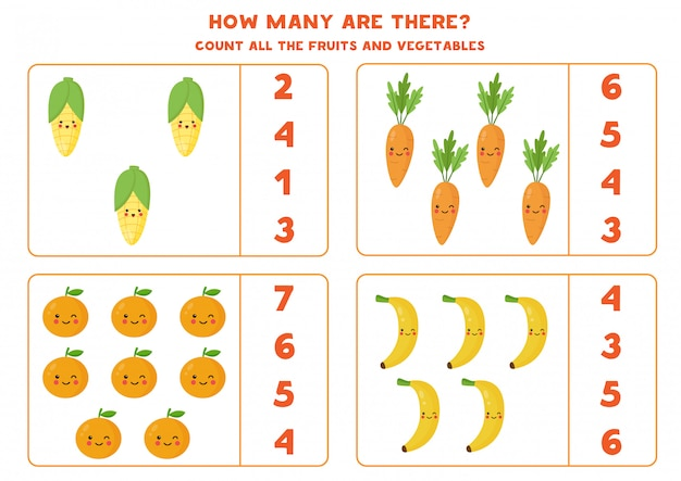 How many fruits and vegetables are there.