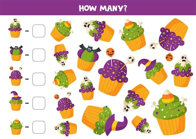 Сколько там кексов на хэллоуин. посчитайте и обведите правильный ответ. математическая игра для детей. рабочий лист для печати.