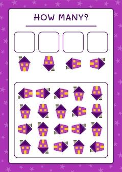 Сколько дома, игра для детей. векторные иллюстрации, лист для печати