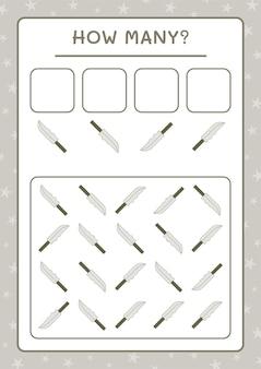 子供向けのゲーム、ナイフの数。ベクトルイラスト、印刷可能なワークシート