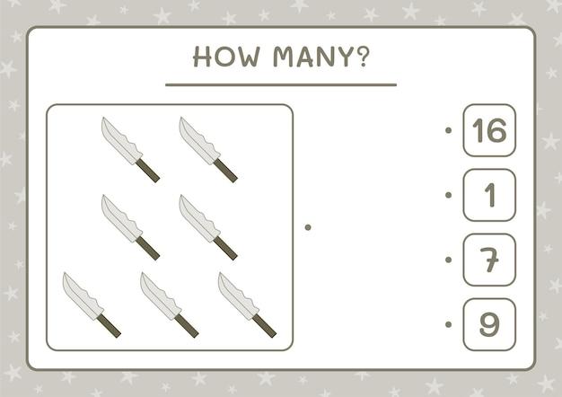 ナイフの数、子供向けのゲーム。ベクトルイラスト、印刷可能なワークシート