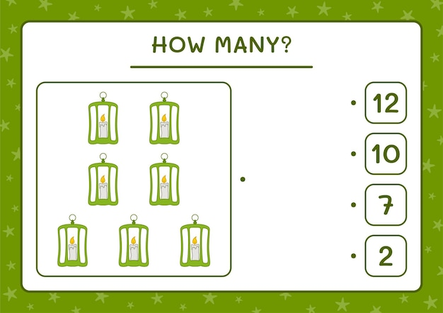 How many lantern, game for children. vector illustration, printable worksheet