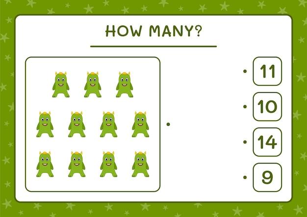 How many monster, game for children. vector illustration, printable worksheet