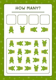Сколько чудовищ, игра для детей. векторные иллюстрации, лист для печати