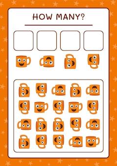 Сколько кружка, игра для детей. векторные иллюстрации, лист для печати