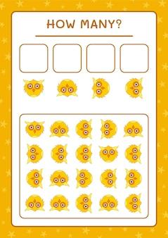 Сколько сова, игра для детей. векторные иллюстрации, лист для печати
