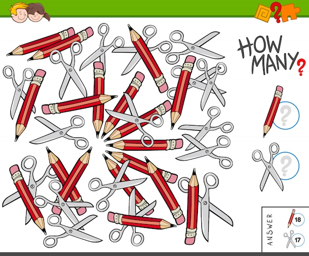 How many pencils and scissors educational task