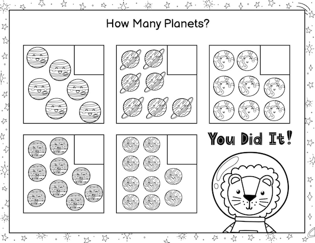 How many planets do you see count and write the number black and white mathematics game
