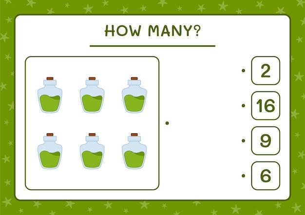 How many potion bottle, game for children. vector illustration, printable worksheet