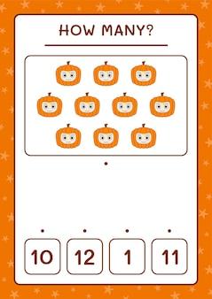 Сколько тыквенных масок, игра для детей. векторные иллюстрации, лист для печати