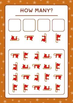 Сколько сани деда мороза, игра для детей. векторные иллюстрации, лист для печати