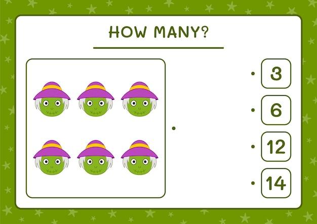 How many scarecrow, game for children. vector illustration, printable worksheet