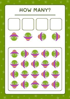Сколько чучело, игра для детей. векторные иллюстрации, лист для печати