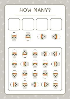 Сколько черепов, игра для детей. векторные иллюстрации, лист для печати
