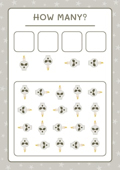 How many skull with candle, game for children. vector illustration, printable worksheet