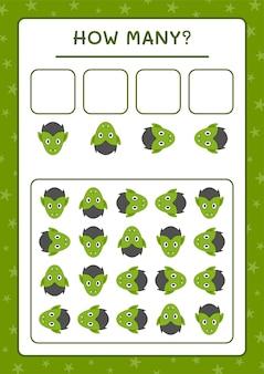 Сколько вампиров, игра для детей. векторные иллюстрации, лист для печати