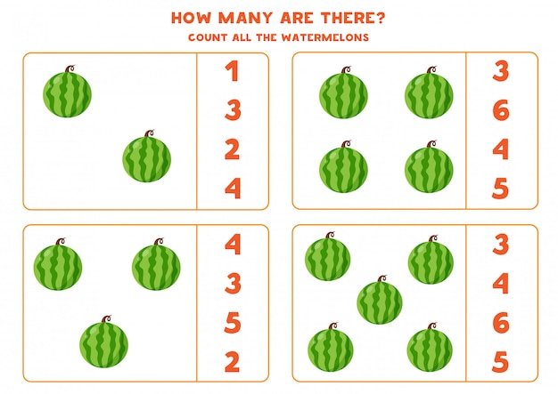 How many watermelons are there. educational counting game for kids. math worksheet for preschoolers.