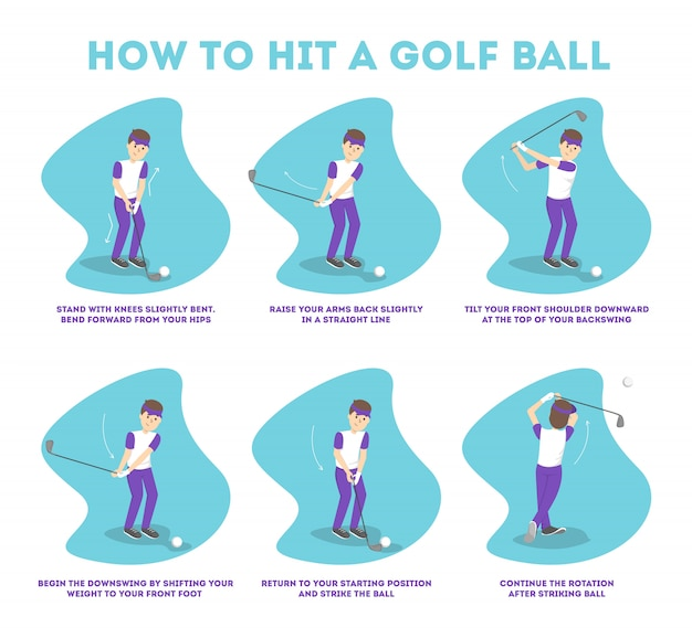 How to play golf guide for beginners. basic rules. man player on the field with ball. golf lesson.   illustration