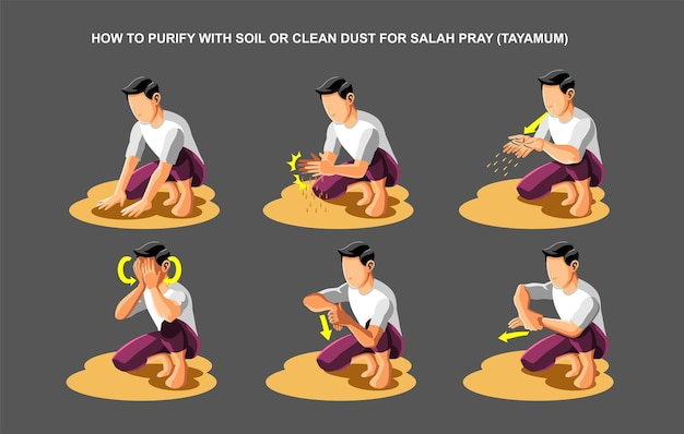 How to purify with soil or clean dust for salah prayer tayamum