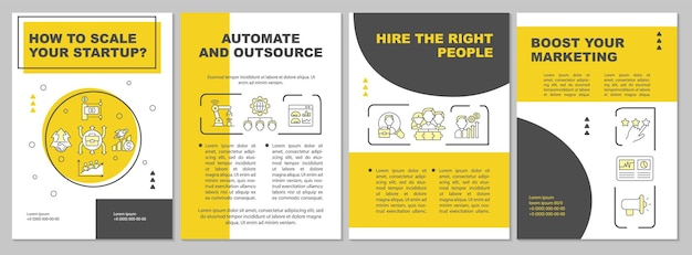 How to scale startup yellow brochure template. automate, outsource. flyer, booklet, leaflet print, cover design with linear icons. vector layouts for presentation, annual reports, advertisement pages