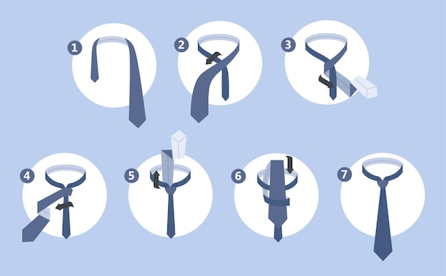 How to tie a tie instruction. guide for making necktie. isolated flat vector illustration