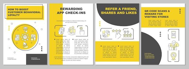 고객 행동 충성도를 높이는 방법 노란색 브로셔 템플릿. 전단지, 소책자, 전단지 인쇄, 선형 아이콘이 있는 표지 디자인. 프레젠테이션, 연례 보고서, 광고 페이지용 벡터 레이아웃