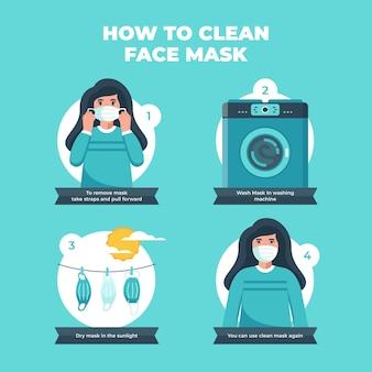 再利用可能なフェイスマスクをきれいにする方法-インフォグラフィック
