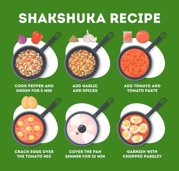 フライパンでシャクシュカを調理する方法。卵、トマト、コショウで朝のおいしい食事。美味しい伝統料理。ランチまたはディナー料理。漫画のスタイルのイラスト