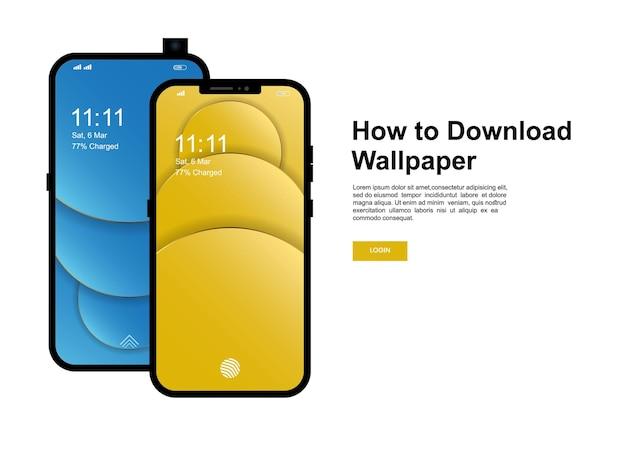 壁紙バナーテンプレートをダウンロードする方法。現代の携帯電話の画面の壁紙デザインのスマートフォン