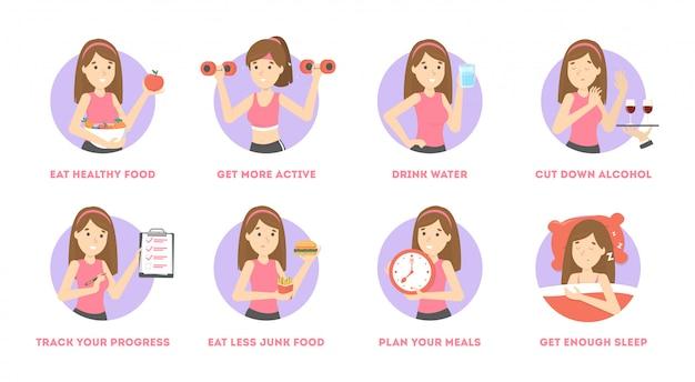건강하고 건강한 생활 습관을 얻는 방법.