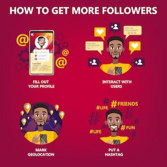 Как получить много последователей для людей, которые хотят быть популярными. Premium векторы