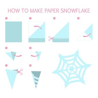 私たちのクリスマスブルーのスノーフレークをdiyの形にする方法。紙折り紙のおもちゃのステップバイステップの説明。子供のためのチュートリアル。分離ベクトルフラット図