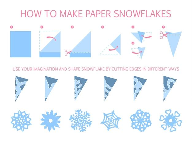 形の違う白い雪片を作る方法diy。紙折り紙のおもちゃのステップバイステップの説明。子供のためのチュートリアル。分離ベクトルフラット図