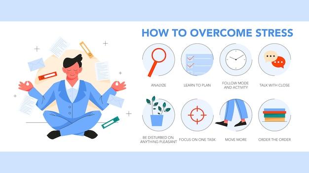 스트레스를 극복하는 방법 가이드. 우울증은 지침 팁을 줄입니다. 운동과 계획, 의사 소통은 스트레스 상태를 줄이는 데 도움이됩니다. 삽화