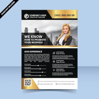 ビジネスチラシテンプレートデザインを宣伝する方法ブラックゴールドプレミアムデザイン