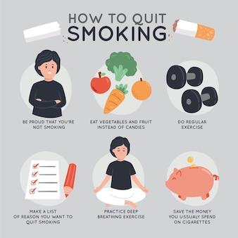 図解された喫煙のインフォグラフィックをやめる方法