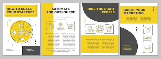 スタートアップの黄色いパンフレットテンプレートを拡大縮小する方法。自動化、アウトソーシング。チラシ、小冊子、リーフレットプリント、線形アイコンのカバーデザイン。プレゼンテーション、年次報告書、広告ページのベクターレイアウト