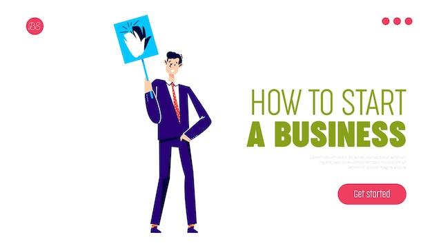 Как начать бизнес шаблон целевой страницы с бизнесменом, держащим знак