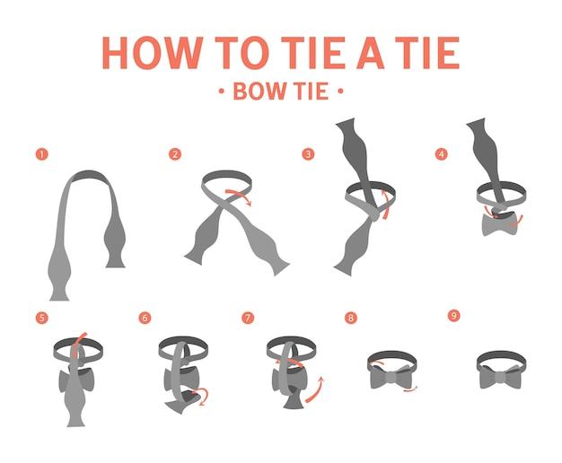 蝶ネクタイの手順を結ぶ方法。ネクタイを作るためのガイド。分離フラットベクトルイラスト