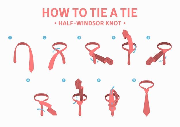 Как связать полувиндзорский узел инструкция по завязке. руководство по изготовлению галстука. изолированные плоские векторные иллюстрации