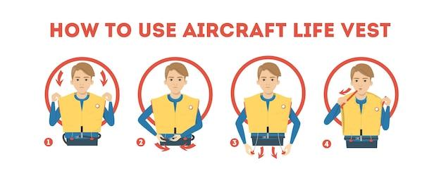 飛行機のライフジャケットの使い方の説明。デモンストレーション
