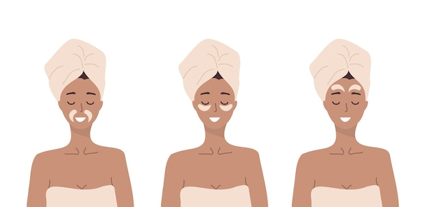 眼帯の使い方。家でリラックスする女性。スキンケアのコンセプト。
