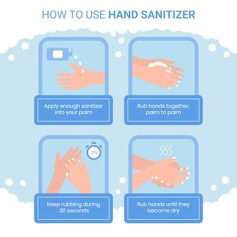 Как использовать дезинфицирующее средство для рук инфографики концепции