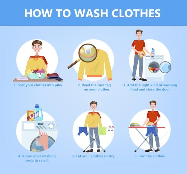 主婦の手洗いのステップバイステップガイド。服のケアの指示。異なるタイプの衣類用の洗剤または粉末。分離フラットベクトルイラスト