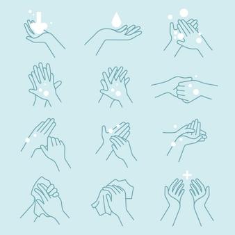 손 아이콘 세트를 씻는 방법