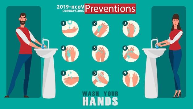 あなたの手のイラストのコンセプトを洗う方法