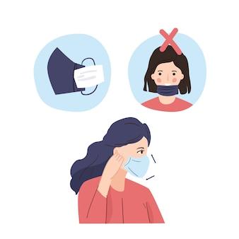 Как носить маску для лица иллюстрации