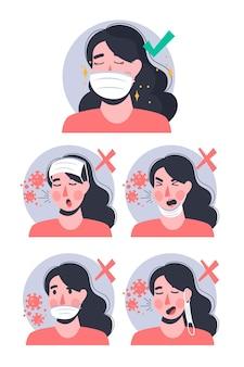 Как правильно и неправильно носить маску Premium векторы