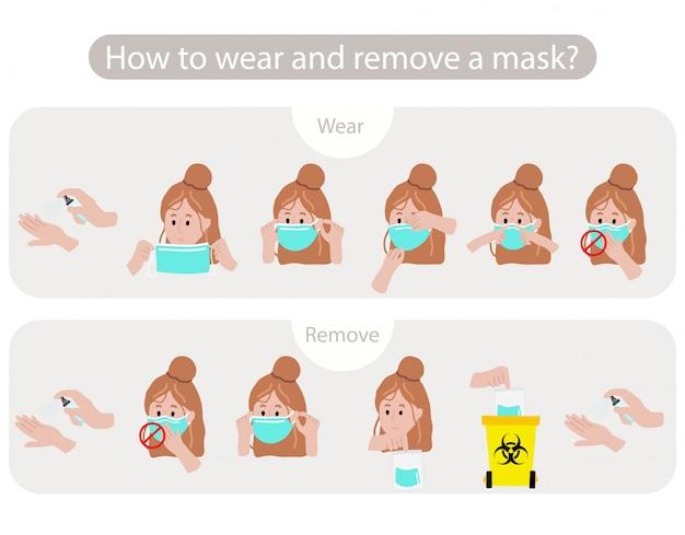 박테리아, 코로나 바이러스의 확산을 막기 위해 마스크를 단계별로 착용하고 제거하는 방법. 포스터에 대 한 그림입니다. 편집 가능한 요소